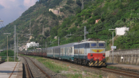 Ecco il secondo motivo del tour di giornata, uno straordinario militare diretto a Trapani, in lento transito a Favazzina con titolare la E655 217.