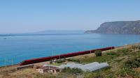 Treno Italo EVO 652 numero 2 in risalita lungo la costa tirrenica calabrese, mentre effettua servizio con il treno 8162 da Reggio Calabria Centrale a Torino Porta Nuova