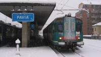 Doppia composizione di ALn668 1800 in stazione a Pavia, nella foto l